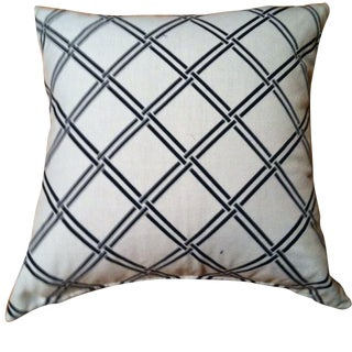 White and Blue Patterned Pillows - A Pair