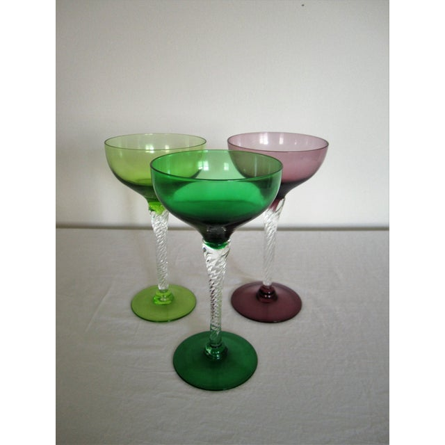 Vintage Blown Glass Champagne Glasses - Set of 3 - Image 8 of 8
