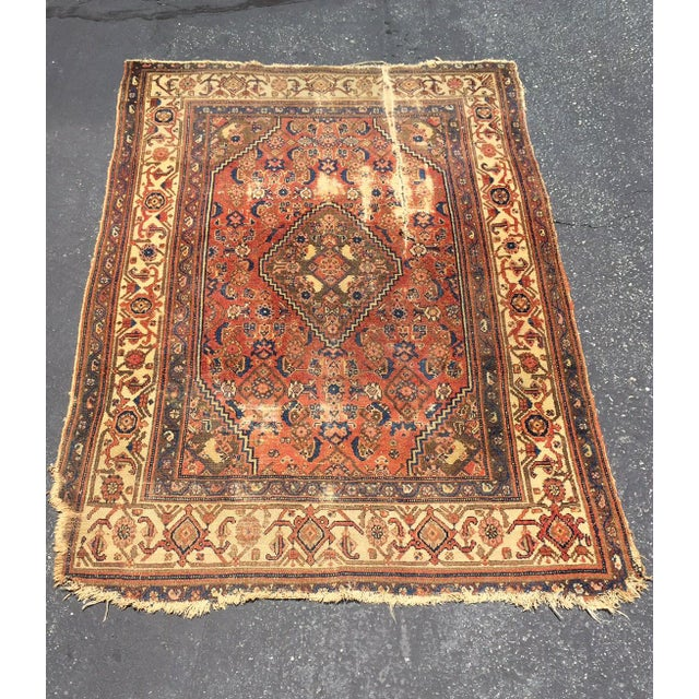 Antique Distressed Persian Rug / Wall Hanging - 4′4″ × 6′2″ - Image 4 of 10