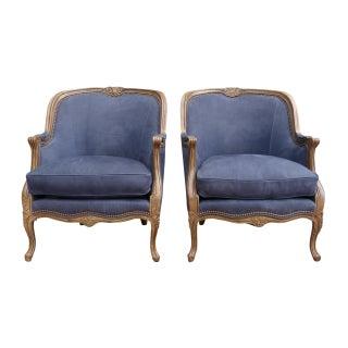 Hancock & Moore Indigo Leather Armchairs - A Pair