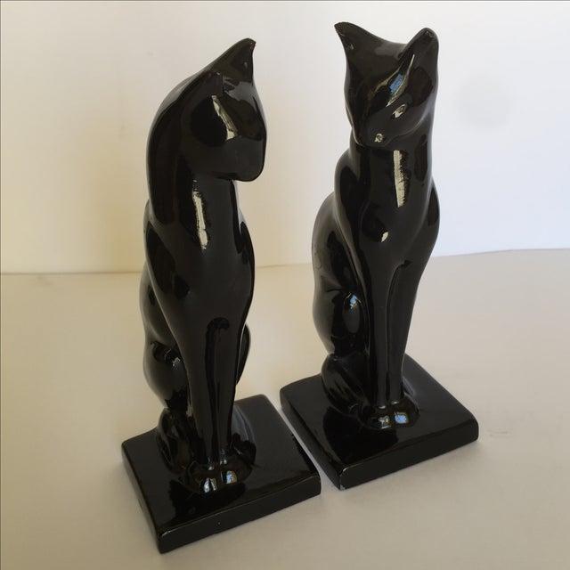 Image of Vintage Enameled Metal Cat Bookends