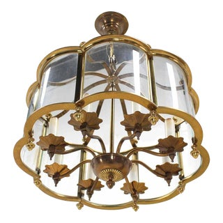 Mid Century Brass Chandelier with Curved Glass Shade