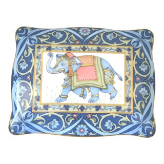 Antique Wedgwood Elephant Bone China Lidded Card Box India Blue White