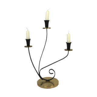 1950's Mid-Century Curved Metal Candelabra
