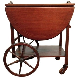 Carved Drop-Leaf Mahogany Serving Cart