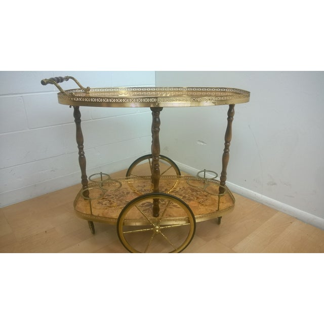 Image of Vintage Italian Marquetry Inlaid Beverage Cart