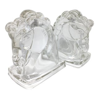 Vintage Glass Horse Bookends - A Pair