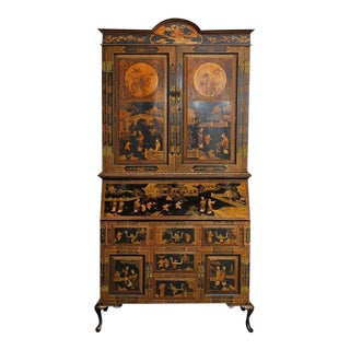 18th Century English Chinoiserie Lacquered Secretary