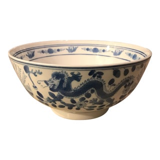 Chinese Dragon and Phoenix Blue & White Ceramic Bowl