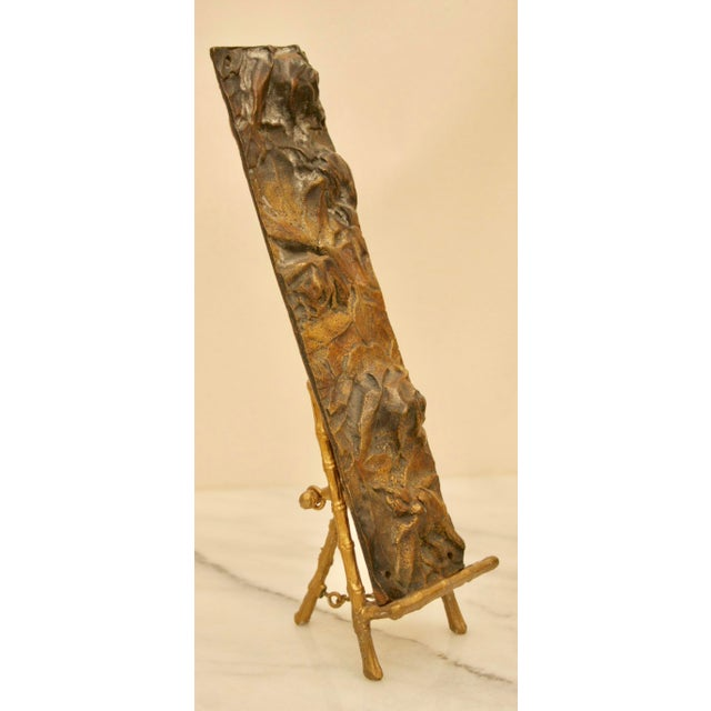 Bronze Abstract Panel on Faux Bamboo Easel - Image 8 of 8