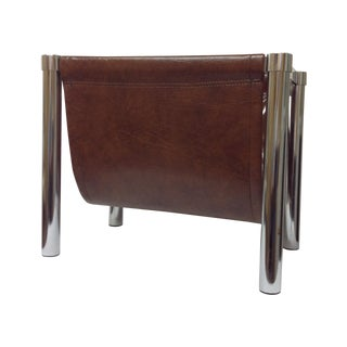 Milo Baughman Chrome & Faux Leather Rack