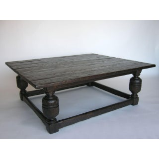 Custom Oak Wood Baroque Style Coffee Table
