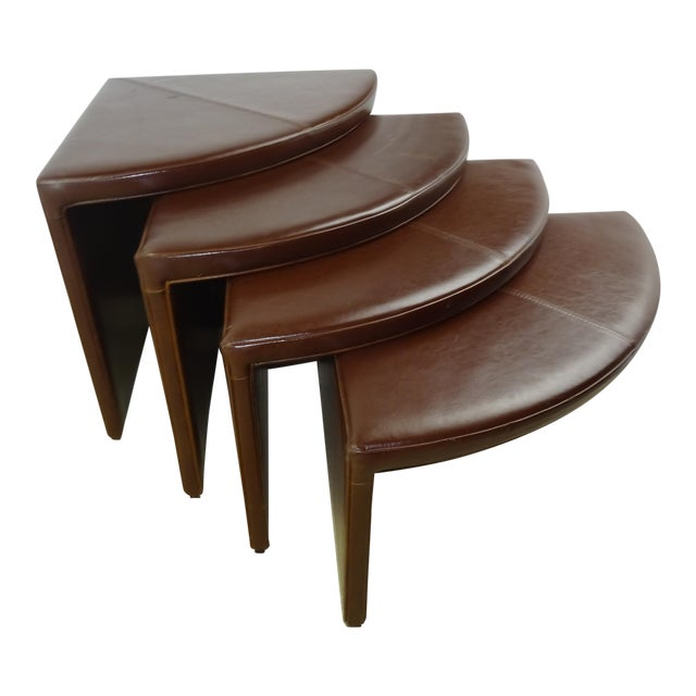 Leather Nesting Tables ~ Leather waterfall corner nesting tables set of chairish