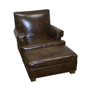 Brown Leather Club Chair & Ottoman