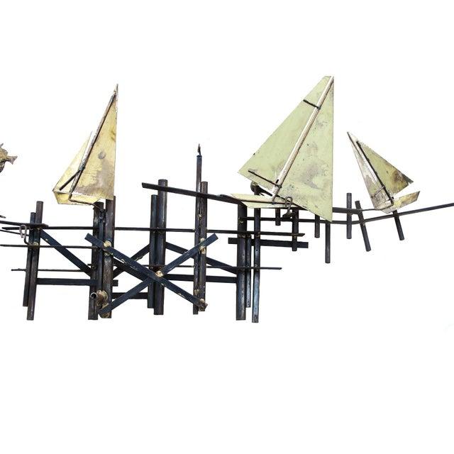 Mid-Century Modern Brass Sailboats Wall Art - Image 3 of 3