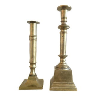 Heavy Brass Candle Stick Pair, Vintage Mid Century