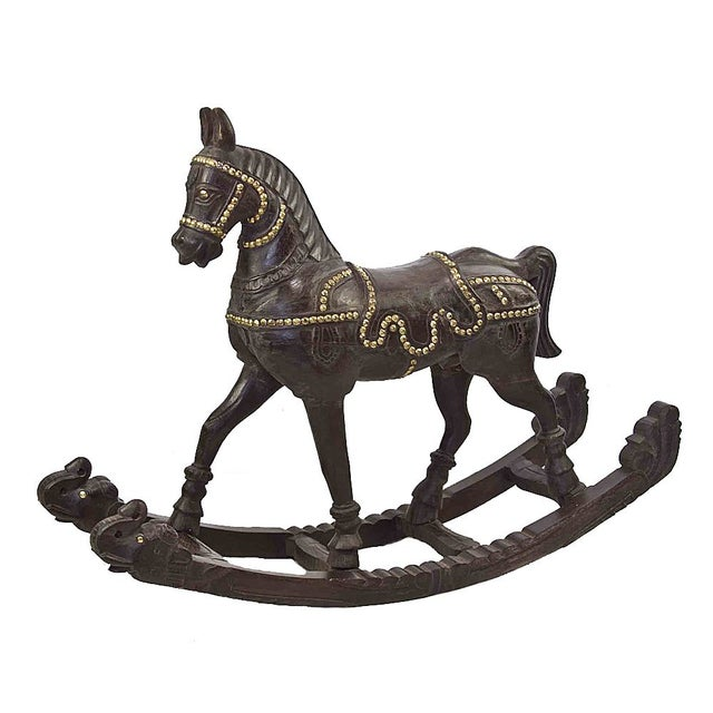 Vintage Wood and Brass Rocking Horse - Image 1 of 6