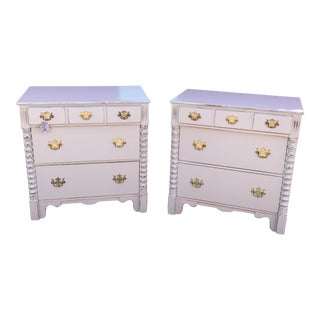 Silver Gray Painted Cherry Dressers - A Pair