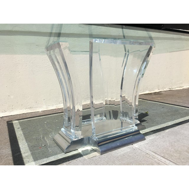 Jeffrey Bigelow Lucite and Nickel Dining Table 1980's - Image 5 of 7
