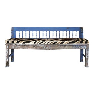 Vintage Blue & Zebra Farmhouse Bench