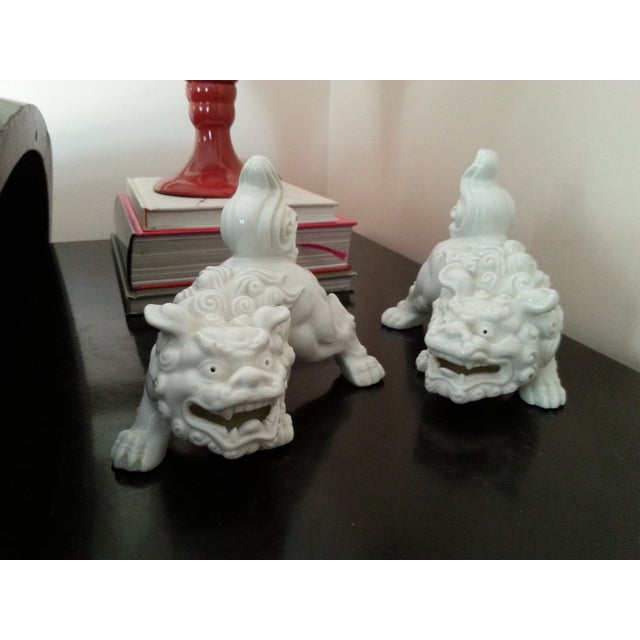 Mid-Century Foo Dogs, Porcelain, Hollywood Regency - Image 6 of 10