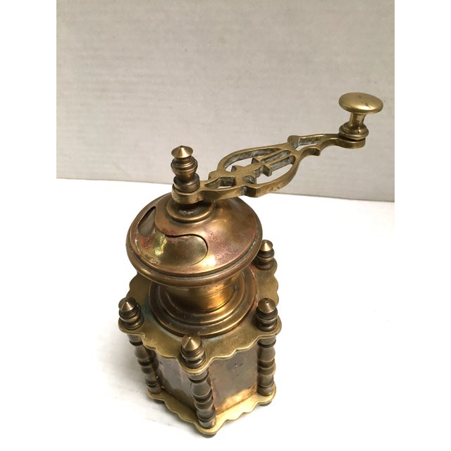 Image of Large Antique Brass Footed Pepper Mill