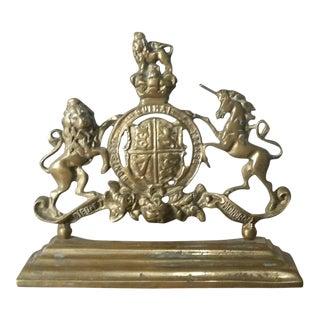 Kings Arms Brass Door Stop