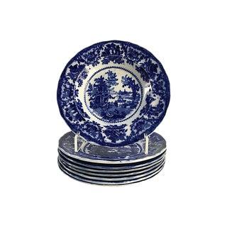 Antique Flow Blue Pagoda Dinner Bowls - Set of 8