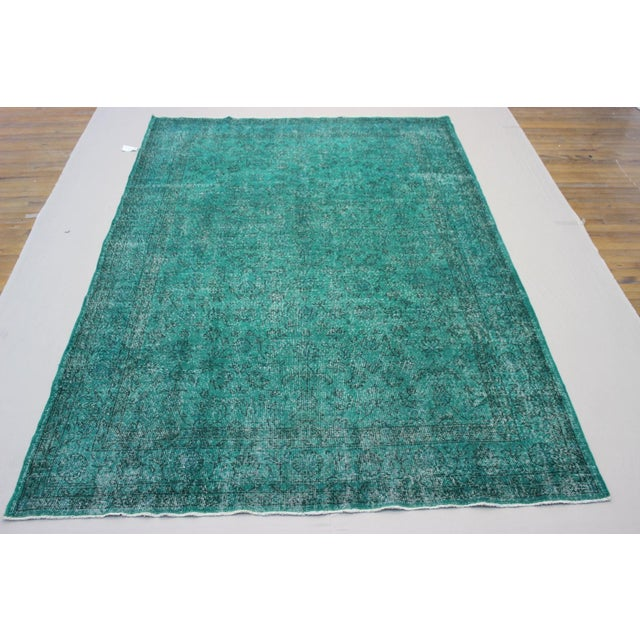 """Vintage Over-Dyed Teal Rug - 7'6"""" x 10'9"""" - Image 2 of 9"""