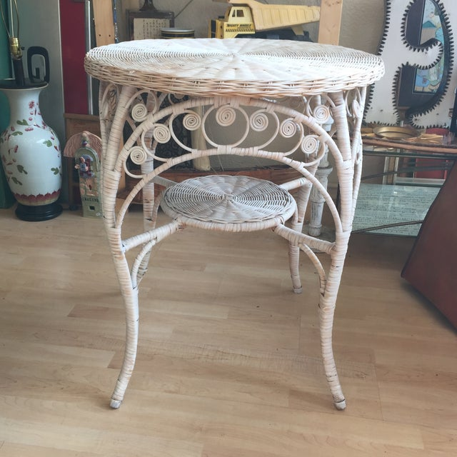 Vintage White Wicker Side Table - Image 4 of 6
