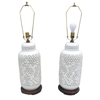 Large Pierced Blanc De Chine Lamps - A Pair