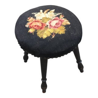 Antique Needlepoint Nailhead Footstool
