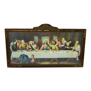 Early H. Zabateri Framed Last Supper Print