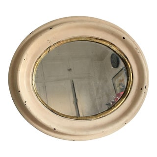 Antique Cream and Gold Gild Blue Tinted Glass Oval Mirror