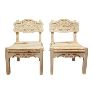 Vintage Rustic Farmhouse Chic Carved Wood Occasional Chairs - A Pair
