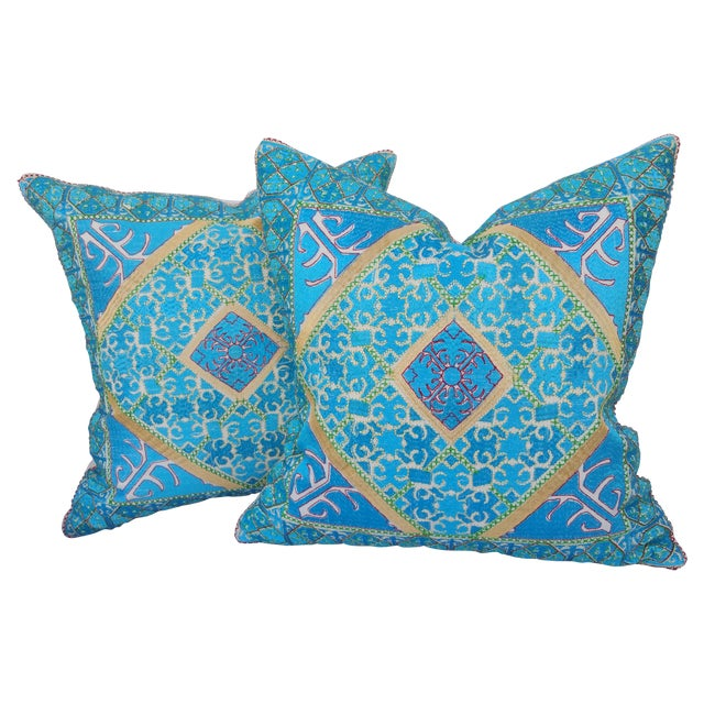 Image of Vibrant Silk Embroidered Pillow - Pair