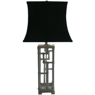 Mid-Century Faux Bamboo Ceramic Lamp