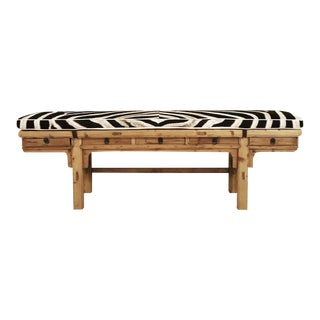 Forsyth One of a Kind Chinese Five-Drawer Bench With Custom Zebra Cushion