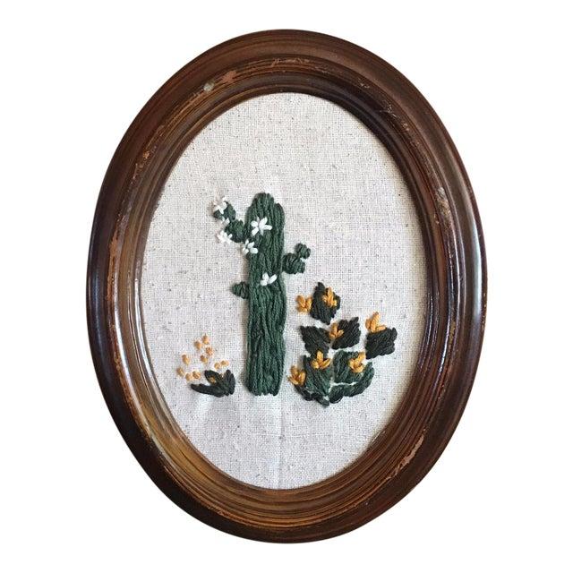 Framed Boho Chic Cactus Embroidery - Image 1 of 5