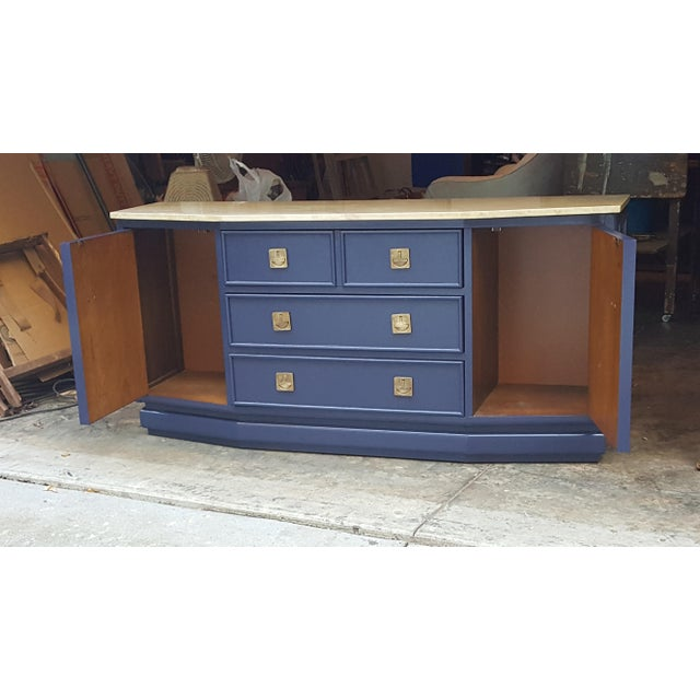 Vintage Campaign Regency Marble Top Painted Sideboard - Image 2 of 10