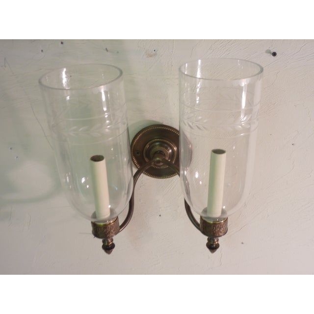 Image of Sconces With Glass Shades - A Pair
