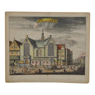 "Antique ""St. Olof"" Amsterdam Color Engraving"