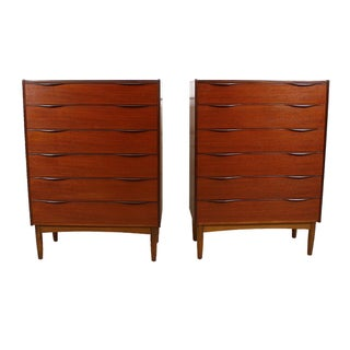 Sculpted Pull Danish Teak Designer Dressers - Pair