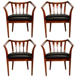 Mid-Century Modern Set of Four Custom Walnut Chairs