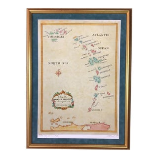 Watercolor Painting of Caribbean West Indies Map - Limited Edition