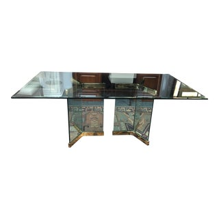 Glass Base and Brass Fittings Dining Table