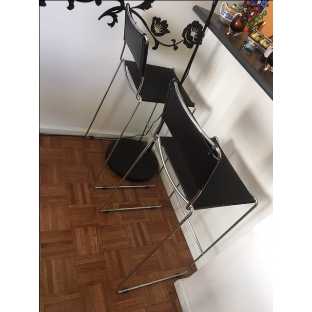 Italian Leather & Chrome Counter Stools - A Pair - Image 3 of 6