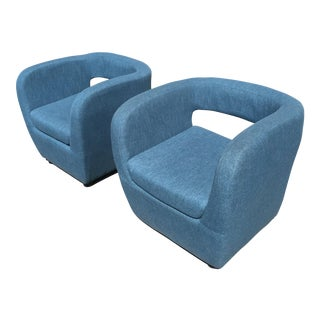 Mid-Century Teal Blue Club Chairs- A Pair