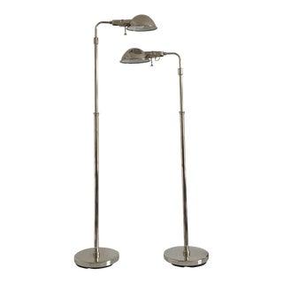 Ralph Lauren Polished Nickel Floor Lamps - A Pair