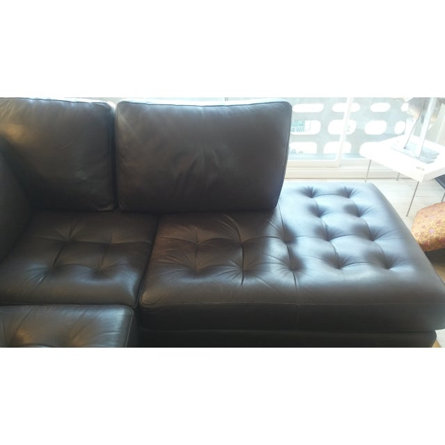Tufted Dark Brown Leather Sectional - Image 6 of 6